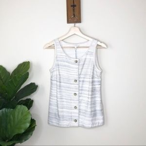 Lucky Brand cream button up sleeveless top